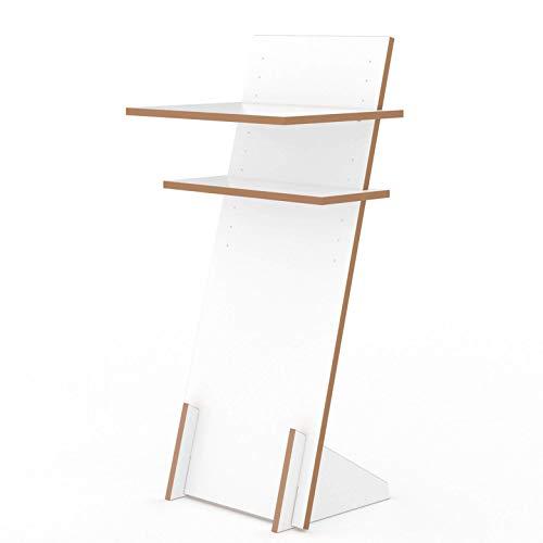 Tojo Pult - Stehpult höhenverstellbar - Auch als Sitzpult geeignet - 120 cm x 50 cm (H x B) - Farbe Weiß - Schreibpult mit verstellbaren Fächern - Holzpult zu Lesen und Schreiben - Design Pult