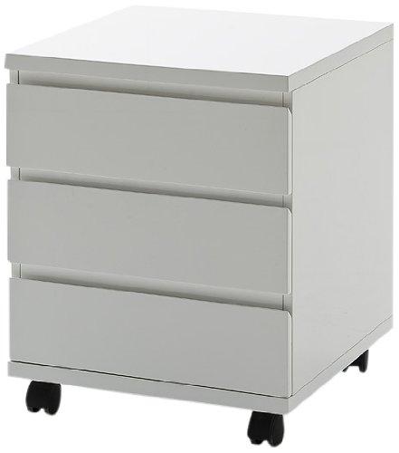 Robas Lund Schreibtisch-Container, Bürocontainer, Hochglanz/weiß, mit Rollen, 42 x 42 x 57 cm,...