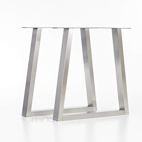 Tischgestell Trapez-Form modern I 70 x 30 mm Profil I hochwertiger Edelstahl gebürstet I 72 cm hoch I Indoor & Outdoor I Untergestell für Ess-, Schreib-, Gartentisch etc. I 1 Paar (2 Stück)