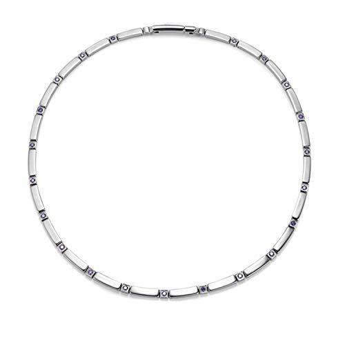 Edelstahl + Lila Zirkon Halskette Magnetische Edelstahl Halskette