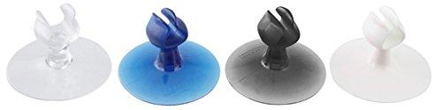 Fackelmann Zahnbürstenhalter mit Saugnapf, Universalsaughalter aus Kunststoff, Saughaken in transparent/blau/schwarz/weiß, Menge: 2 Stück (Dusche Fliesen Wand Regal)