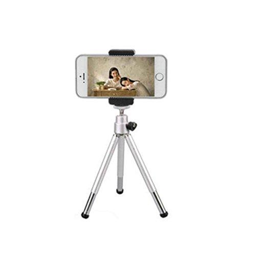 Teléfono mini trípode teléfono con cámara de video de escritorio soporte portátil , small two silver + double hole clip (Telefono Camara)