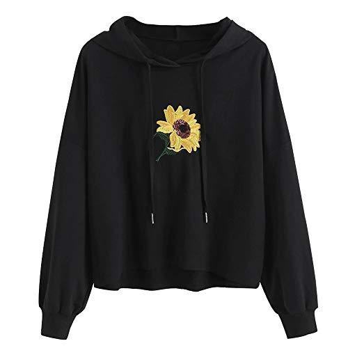 soweilan Sunflower Damen Kapuzenpullover mit Kapuze für Mädchen Gr. S, Schwarz -