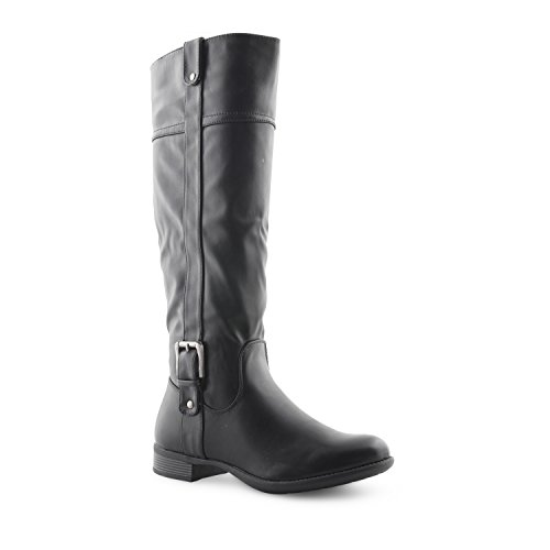 Damen niedrigen Blockabsatz, gesteppt, seitlicher RV bis knielanges Damen Winter-Stiefel mit Schnalle, Damen, Schuhe Schwarz (Black Pu)