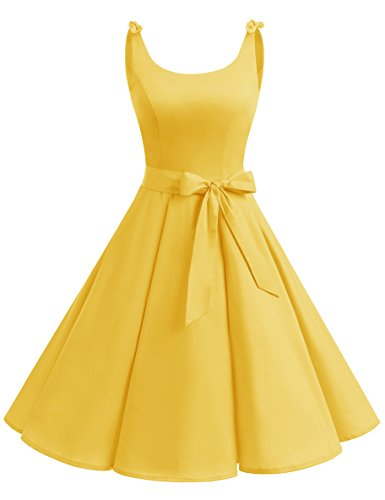 bbonlinedress 1950er Vintage Polka Dots Pinup Retro Rockabilly Kleid Cocktailkleider Yellow L - Kleider Damen Gelb