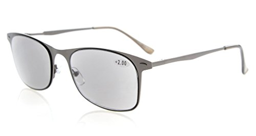 Eyekepper Leser Qualitätsfederscharnieren Metall lesen Sonnenbrille Sonne Leser grau Linse +0.75
