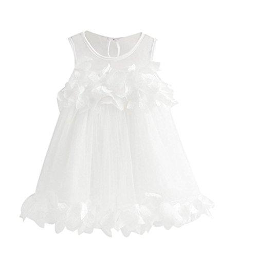 LCLrute New Hochwertige Baby Mädchen Prinzessin Kleid Festzug Sleeveless Print Kleider (130, Weiß) (Volle Kleid Rock-spitze-hochzeit)