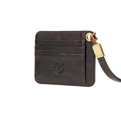 JIFNCR Kartenhalter Einfache Männer Business Credit Cart Wallet Card Case Mini Slim Portable ID Name Führerschein Card Wallet Bus Card Pack Bürobedarf, Kaffee -