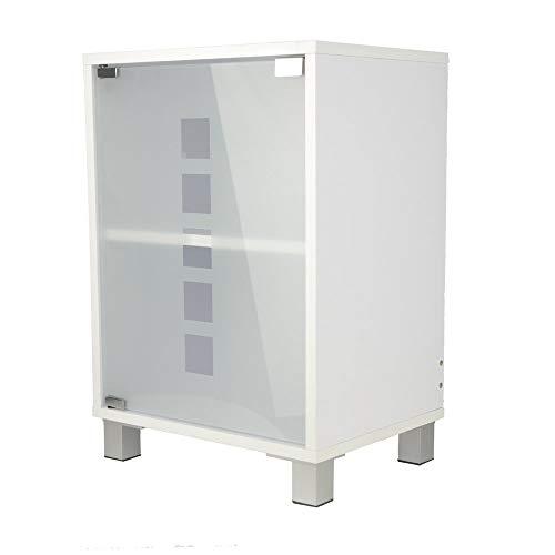 #Waschtischunterschrank mit Glastür Holz weiß 30 x 40 x 56 cm | Aussparung für Siphon | verstellbarer Einlegeboden | Tip-on-Automatik#