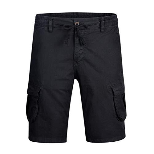 Cargo Shorts Herren Chino Kurze Hose Sommer Bermuda Sport Jogging Training Stretch Shorts Fitness Vintage Regular Fit Sweatpants Baumwolle Qmber Lässige Shorts mit Mehreren Taschen(Black,28) - 40 Blend Chino Rock