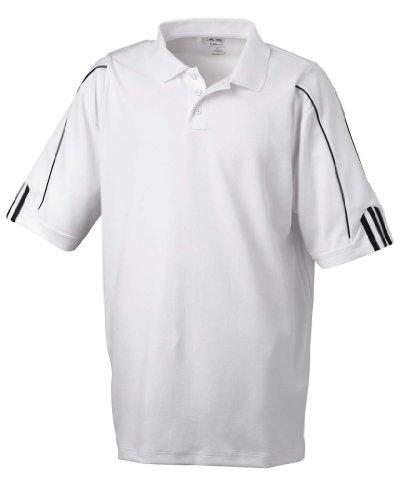 adidas Golf Mens Climalite 3-Stripes Cuff Polo (A76) -White/BLAC -2XL