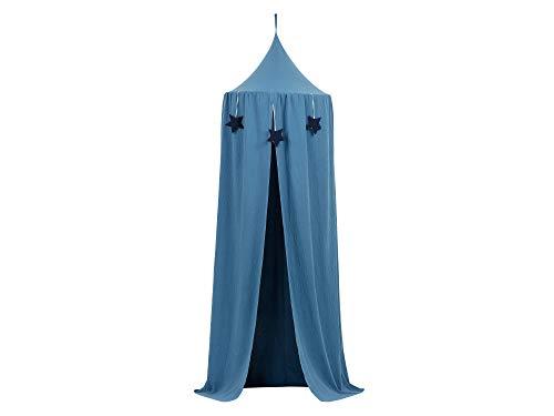 KraftKids Hänge-Zelt in Musselin blau, Baldachin aus Baumwolle für das Kinderzimmer, 65 x 210 cm, inkl. Schlafmatte