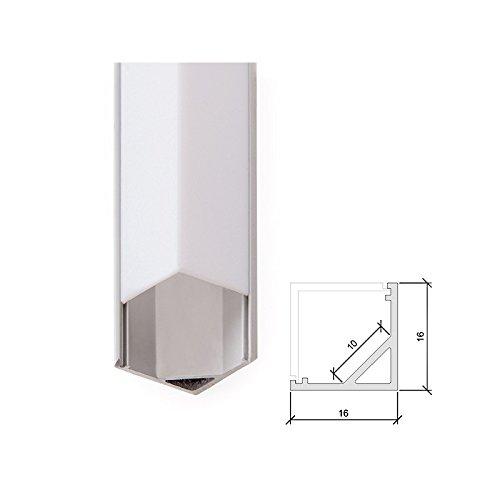 Perfíl de Aluminio para Tira de LEDs -Difusor Opal - Tira de 2 Metros