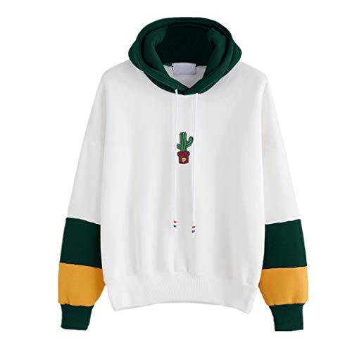 JUTOO Damen Langarm Kaktus Print Hoodie Sweatshirt Kapuzenpullover Tops Bluse(Grün,EU:40/CN:S)