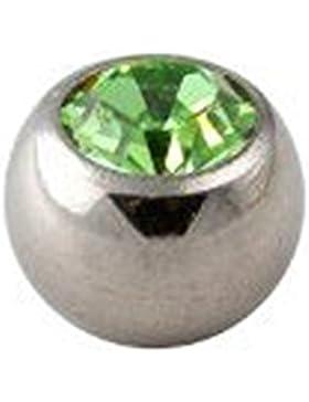 Piercing Schraub Kugel 3mm aus chirurgenstahl mit Hell Grün kristall für 1,2mm stab