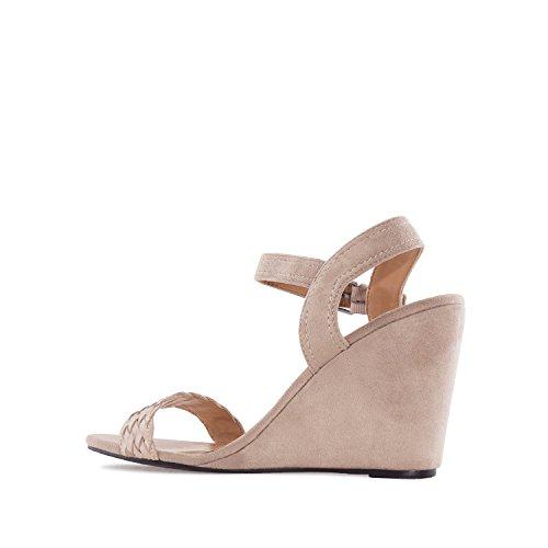 Andres Machado. AM5133.Chaussures Compensées en Suèdine. Petites et Grandes Pointures 32/35-42/45. Beige