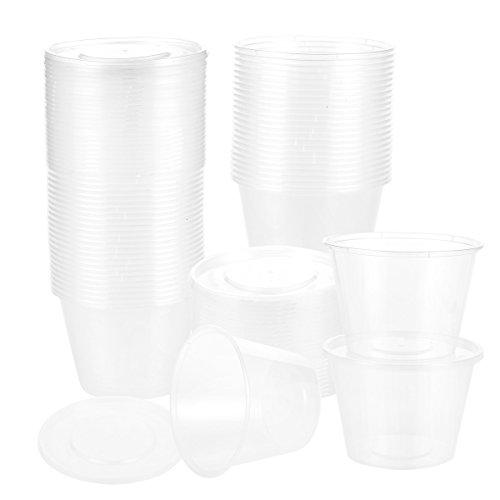 (Kunststoff-Behälter mit Deckel 50 Stück–runde Frischhaltedosen, geeignet für Mikrowelle, Gefrierschrank, Spülmaschine, 480 ml)