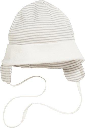 Schnizler Unisex Baby Mütze Bindemütze, Erstlingsmütze mit Ohrenschutz, Oeko-Tex Standard 100, Beige (Natur 2), Small (Herstellergröße: 45cm)