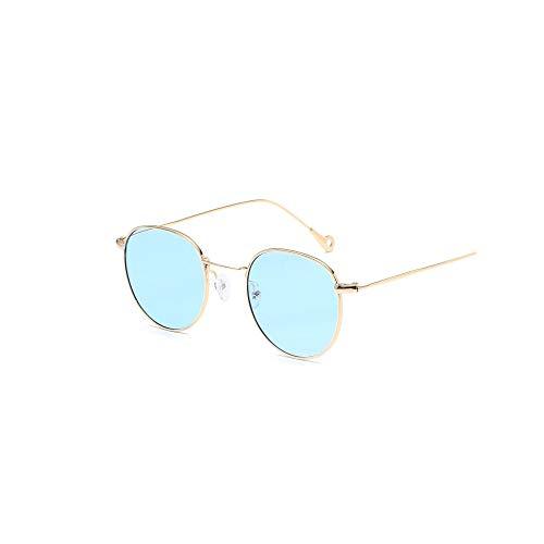 WJFDSGYG Runde Sonnenbrille Frauen Designer Farbe Objektiv Metallrahmen Spiegel Sonnenbrille Weiblich Unisex Gradienten Oculos