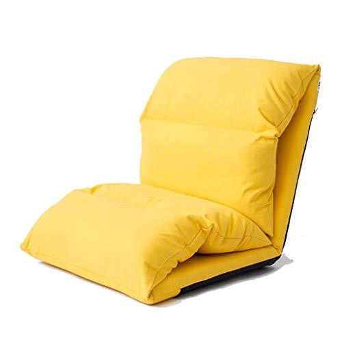 YXNN Faltender Recliner-fauler Sofa-Fußboden-Stuhl Eingebaute Stahlplatte-Schwamm-Fülle 6 Winkeleinstellung Rückenlehne Abnehmbarer Beweglicher Freizeit-Sitz 215X65cm (Farbe : Gelb) -
