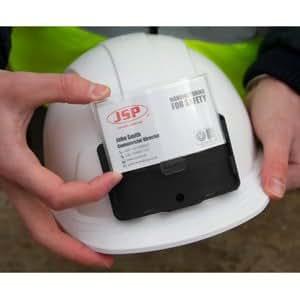 EVOLITE blanc avec porte-BADGE/carte d'identité, les modèles industriels Casque de sécurité disponible Réglage instantané Ventilated. en Europe via Evolution roue Ratchet. (comprend une Paire de bouchons d'oreille disposeable)