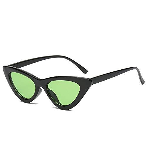 HSHUO Damen Sonnenbrillen Katzenauge Sonnenbrillen wilden kleinen Rahmen Sonnenbrillen@Schwarzer Rahmen grünes Stück