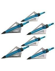 6 Broadheads BLACK Archery Head Bolts 100 grn UK Seller