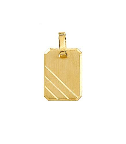 Goldanhänger Gravurplatte Platte inkl kostenlose Gravur in 585 Gold 14 Karat Kettenanhänger Gelbgold Schmuck 2267
