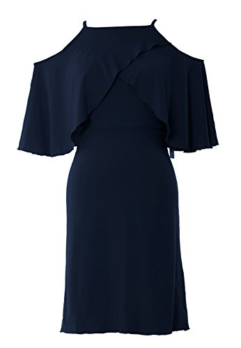 MACloth Women Off Shoulder Short Wedding Bridesmaid Dress Cocktail Party Gown Dark Navy