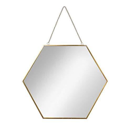 LH-Spiegel Hexagon Hängender Spiegel Moderner dekorativer Wandspiegel | Badezimmerspiegel | Wand Make-up und Rasierspiegel | Hängendes Seil des Goldmetallrahmens (größe : Mittel)