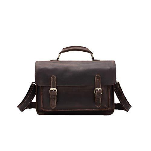 FRYP Handtasche Dunkelbraun für Business, Retro-Aktentasche, lässige Umhängetasche, modisch, Bürotasche, Tasche für Computer mit hoher Kapazität - Modische Computer-aktentasche