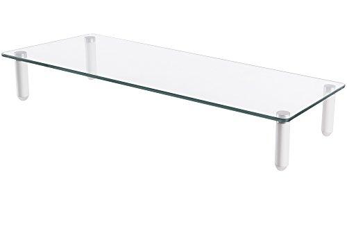Digitus da-90358 da90358 tavolino universale per monitor in vetro, alluminio, durchsichtig/silber, 56 x 21 x 8 cm