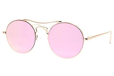 Cheapass Sunglasses Round Mirrored Rosé-Gold Designer-Glasses UV-400 Metal Women Girls Rund Verspiegelt Rosé-Gold Designer Brille UV400 Metall Damen
