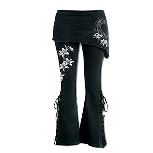 STRIR Pantalón Acampanados Jeans Gótico con Estampado de Flor gótica para Mujer Pantalones con Corte de Bota (S, Blanco)