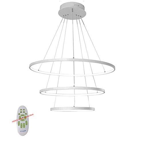 FIERCE TIGER Moderne LED Pendelleuchte Esstisch 76W LED 3-Ring LED Dimmbar Fernbedienung Hängeleuchte Wohnzimmer Deckenleuchte Schlafzimmer Höhenverstehbar Hängelampe Kronleuchter 60/40/20cm (Weiß) -