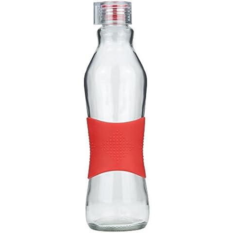 Grip & Go Botella de vidrio para beber/ para nevera 1.0L - Tapa transparente con tapón de silicona - ROJO