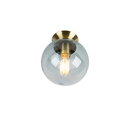 QAZQA Art Deco Art Deco Deckenleuchte/Deckenlampe/Lampe/Leuchte messing mit eisblauem Glas - Pallon/Innenbeleuchtung/Wohnzimmerlampe/Schlafzimmer/Küche/Metall Rund LED geeignet E27 Max -