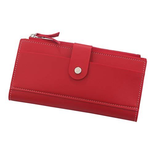 Quaan Frauen Langer Reißverschluss Mode Multi Slot Handtasche 3 Fach Verschluss Zero Geldbörse