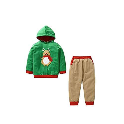 Selou Kleidung für junge Kinder Weihnachtsanzug Männlicher Babykarikatur Hoodie Sweatshirt Elch bestickt Tops Lange Ärmel mit Pinguin-Aufdruck Freizeithosen Baby Pullover Süße dünne Pyjamas