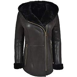 House Of Leather Señoras Piel de Oveja Abrigo Encapuchado Moderno Longitud Shearling Cremallera Chaqueta Ellen Negra (Large)