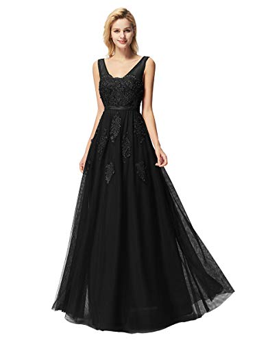 Ever-Pretty Vestito Lungo da Cerimonia Sera Donna Scollo a V Tulle con Appliques Eleganti Nero 46