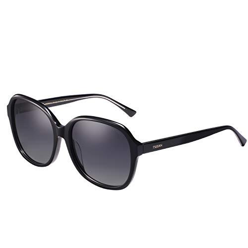 TSEBAN Stylische Sonnenbrille Damen Polarisierte Oversized Sonne Brille mit UV400 Schutz Acetat Rahmen