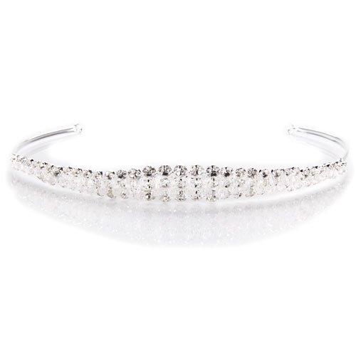 Ecloud Shop® Diadema bañado plata Cristal Brillo Cinta Pelo Moda Corona