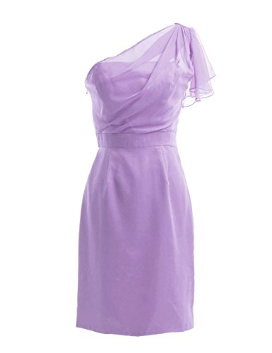 Dresstells, une épaule robe courte de demoiselle d'honneur en mousseline, robe de cocktail épaule asymétrique Lavande