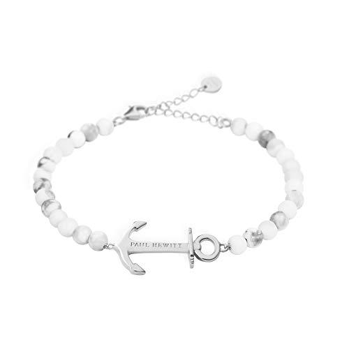 PAUL HEWITT Perlenarmband Damen Anchor Spirit - Armkette Damen (Marmor) mit Anker Schmuck aus Edelstahl (Silber)