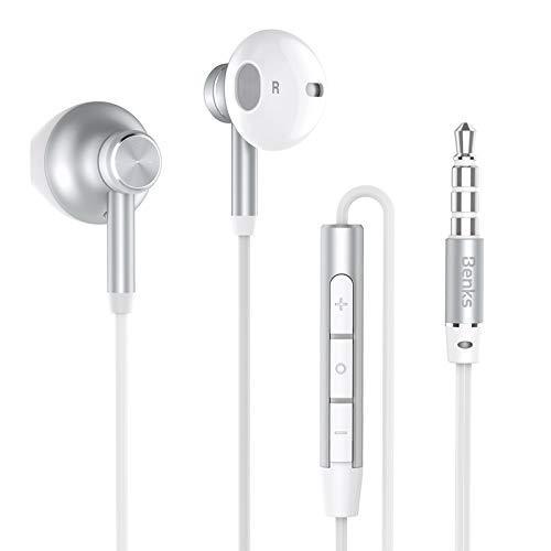 Benks In-Ear-Kopfhörer, Ohrhörer 2018 Subwoofer Stereo Handy-Headset mit Ohrhörern und Mikrofon Audiogeräte für iPhone, Android, Samsung, Smartphones und MP3-Player [ Tiefes Silber/Himmel Silber ] -