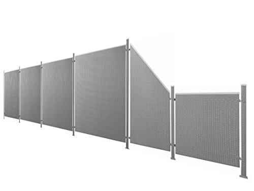 Poly-Rattan Sichtschutz / Zaun-Set 13-teilig anthrazit ca. 777cm Prime Tech