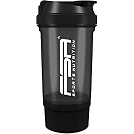 Shaker per Proteine con comparto per polvere 500 ml, con inserto per setaccio e contenitore, senza BPA e senza perdite…
