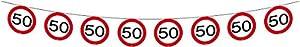 Folat Bunting 50 la señal de tráfico, decoración de cumpleaños Guirnalda