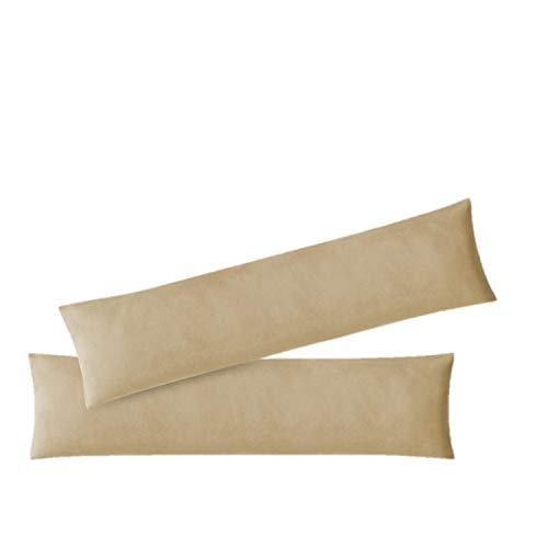 exklusiv-heimtextil Kissenbezug Stillkissenhülle Seitenschläferkissenbezug 2er Set Sparpack Kissenhüllen mit Reißverschluss hochwertige Jersey Qualität 150g/m² 100% Baumwolle ÖKO-TEX 40x145 cm Sand
